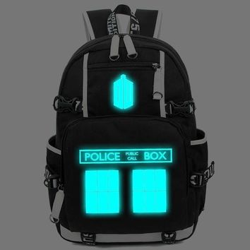 Anime Backpack School kawaii cute Doctor Who Movie Unisex Backpack women Teenage Youth Police Box Cartoon men Schoolbag Flash Laptop School Shoulder Bag AT_60_4
