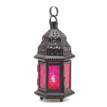 Set of 2 Dark Pink Glass Candle Lanterns