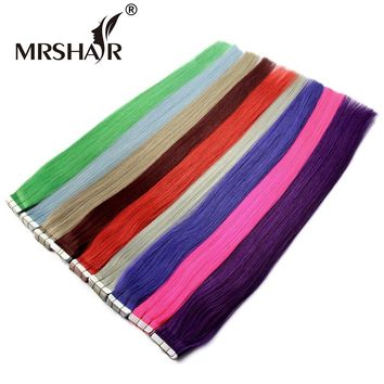 MRSHAIR 22 Inches Real Human Hair On Tape 20pcs Double Sided Tape Extensions Red Purple Blue Color Real Human Hair 50 Grams