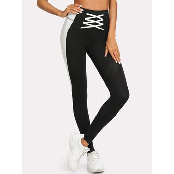 Cut And Sew Crisscross Leggings