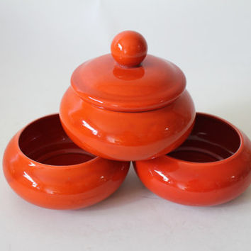 30% OFF Black Friday Bright Orange 3 Tiered Stacking Bowls w/ Lid, Vintage Mid Century USA Pottery, Retro Kitchen Hostess Decor, Snack Bowl