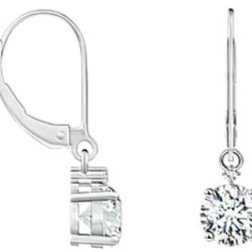 Solitaire Round Diamond Leverback Earings