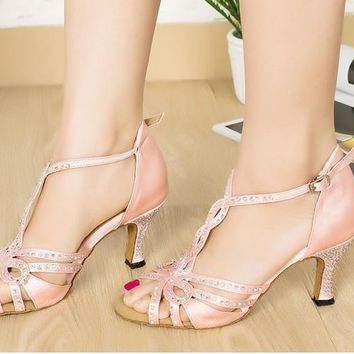 Pink satin Latin dance shoes Rhinestones female soft outsole Ballroom dancing shoes adult sneakers for women