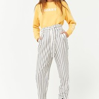 Striped Paperbag-Waist Pants