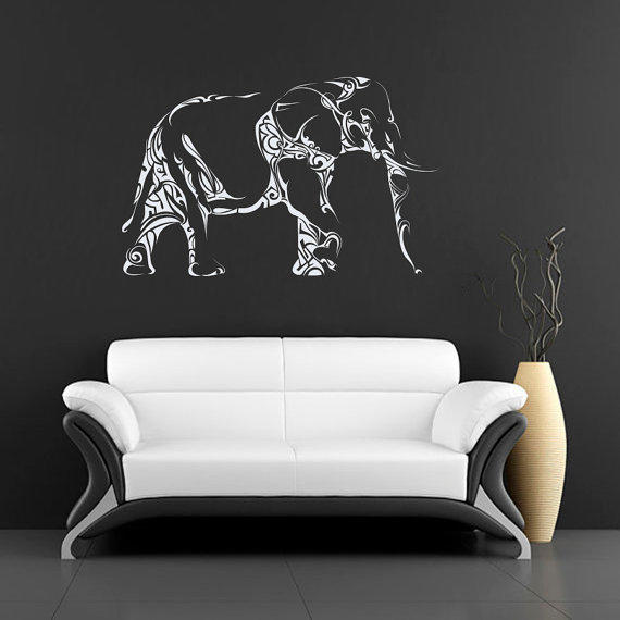 Wall decals animals elephant indian from bestdecals on etsy - Elephant decor for living room ...