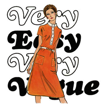 1970s A Line Dress Pattern Bust 36 Very Easy Very Vogue 7991 Standing Collar Kimono Sleeve Day Shift Dress Womens Vintage Sewing Pattern