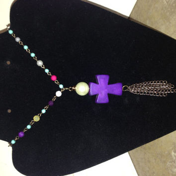 Mullti-Colored Beaded Purple Cross Necklace w/ Bronze-Colored Chain and Tassel Turquoise Faith Jewelry Pearl Wire Wrapped Unique