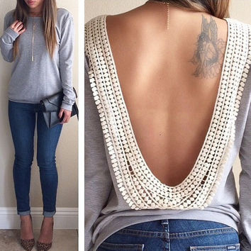 Fancyinn™ 2014 fashion spring autumn clothing sexy backless shirt casual blouses for women
