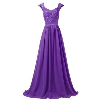 Light Purple Long Bridesmaid Dresses Floor Length Lace Embroidery Applique Silver Gray Royal Blue Wedding Event Dress