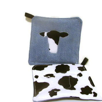 Denim Cow Pot Holders Black and White Cow Print Pot Holders