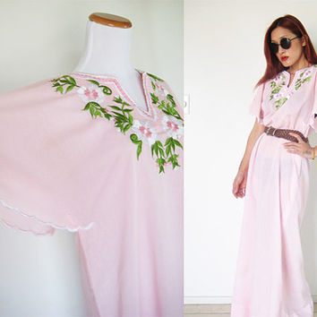 Vintage 70's 80's light pink hippie bohemian bell sleeves embroidered sheer cotton  mexican summer day dress