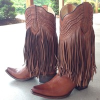 Corral Tan Fringe and Whip Stitch G1204