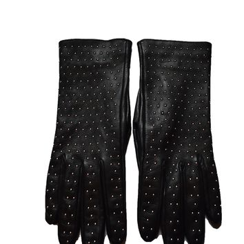 Gucci Women's Black Studded Riding Gloves 370648