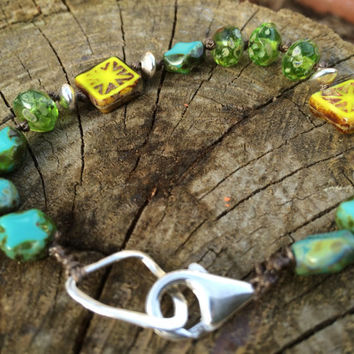 Turquoise, lime and green knotted boho bracelet; Perfect for spring and summer; czech glass and sterling silver