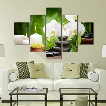 5 Panel Modern Spa Stone Bamboo Candles Oil Painting om Canvas Wall Art - 2 Size Options