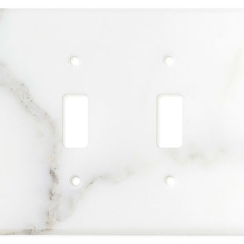 Italian Calacatta Gold Marble Quadruple Toggle Switch Wall Plate / Switch Plate / Cover - Honed