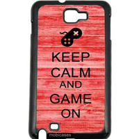 Keep Calm And Game On Red Wood Samsung Galaxy Note 2 Note II N7100 Case Fits Samsung Galaxy Note 2 Note II N7100