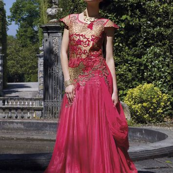 Pink Georgette Unstitched Gown - GOWNS - Women