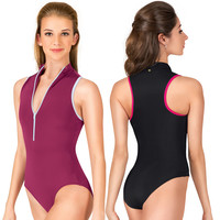 "Adult ""Misha"" High Neck Zip Front Tank Leotard"