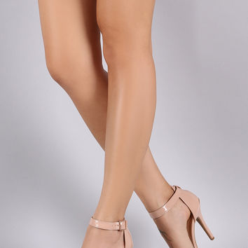 Anne Michelle Patent Open Toe Ankle Strap Heel