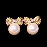 Pearl Ball And Flower Bow Earrings