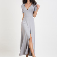 Light Gray Plunge Neck Short Sleeve Split Maxi Dress