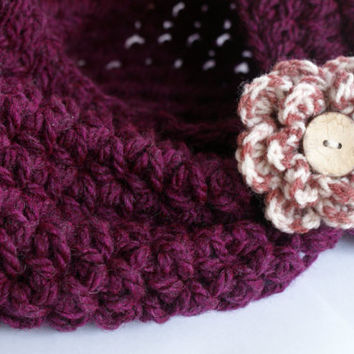 Crochet Toddler Cape, crochet cowl, chunky scarf, purple crochet scarf, toddler infinity scarf