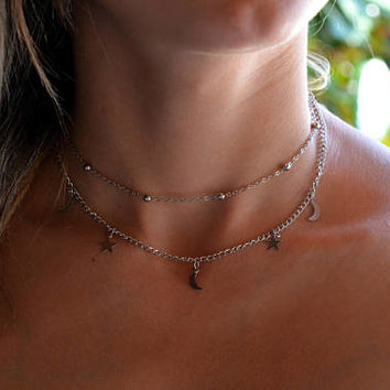 Dainty Choker /layered necklace, silver Choker / Choker Necklace, Dainty Choker, layered choker / Satellite Chain Choker/ star choker & moon