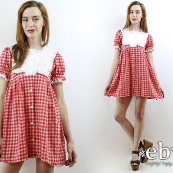 Vintage 80s Red Gingham Puff Sleeve Babydoll Dress XS S Gingham Dress Puff Sleeve Dress Dolly Dress Summer Dress Lolita Dress
