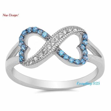 Sterling Silver 925 INFINITY HEART DESIGN BLUE TOPAZ CZ PROMISE RING SIZES 4-10