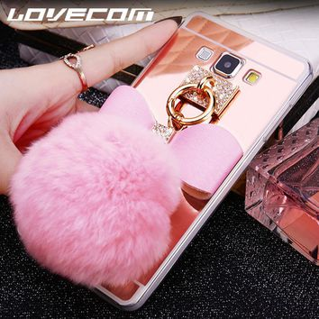 LOVECOM For Samsung A3 A5 A7 J3 J5 J7 (2016 2017) EU Version J5 J7 Prime DIY Fur Ball Bowknot Crystal Soft TPU Mirror Phone Case