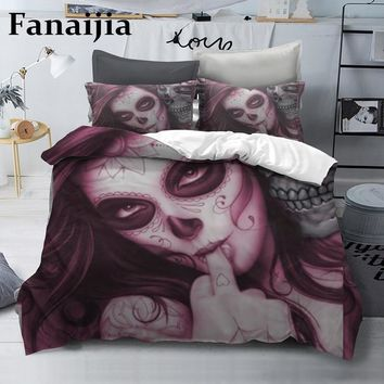 Fanaijia Sugar skull Bedding Sets king beauty kiss Duvet Cover Bed Set Bohemian Print Black Bedclothes queen size