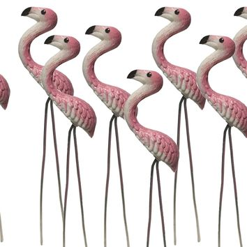 20 pcs. Terrarium Mini Pink Flamingo Stake Miniature Dollhouse Fairy Garden Accessorie