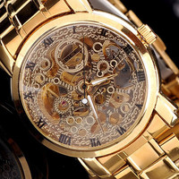 Traditional Skeleton Style Hand-wind Mens Mechanical Steel Band Watch