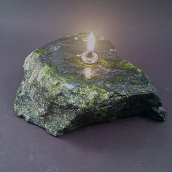 Hematite and Serpentine Stone Oil Lamp