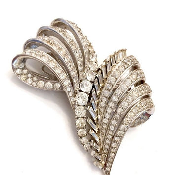 Marcel Boucher Rhinestone Duette Brooch, Dress Clip Brooch, Clear Baguettes Rounds and Pave Ice Ribbons, Wedding Jewelry, Designer Signed
