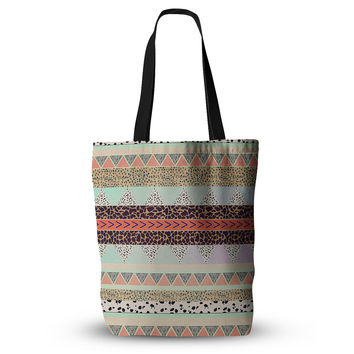 """Vasare Nar """"Animal Print Tribal"""" Multicolor Pastel Everything Tote Bag"""