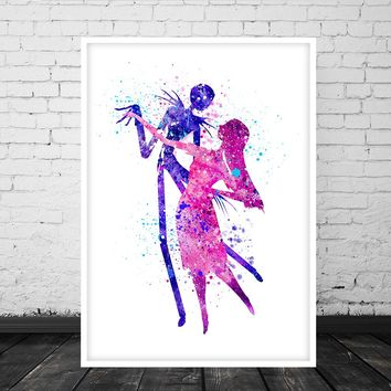 The Nightmare Before Christmas Print, Jack and Sally Print, Jack Skellington Print, Watercolor Art, Home Decor, Wall Art, Wedding Gifts - 208