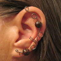 "Ear Cartilage Cuff ""Druid Priestess"" Wire & Wood 1 Cuff Color Choices"