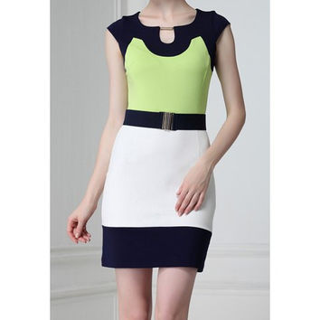 Color Block Short Sleeve Knee-Length Dress