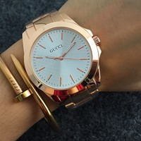 GUCCI Ladies Men Watch Little Ltaly Stylish Watch I-Fushida-8899 Rose gold