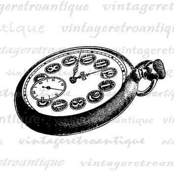 Printable Image Old Fashioned Pocket Watch Digital Pocketwatch Graphic Download Antique Clip Art Jpg Png Eps  HQ 300dpi No.1558