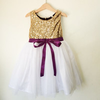 flower girl's dress gold, white and purple, gold sequined and purple dress, gold flower girl dress