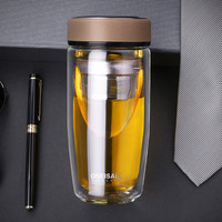High-grade double layer portable business ideas tumbler glass filter office cup bottles mugs double glass tea water coffee cup