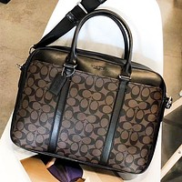 COACH Fashion New Pattern Leather Women Men Briefcase Shoulder Bag Women Handbag