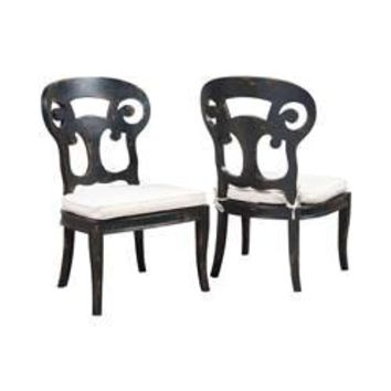 Verona Club Side Chairs In Crossroads Black With Linen Cushions - Set of 2 Crossroads Black