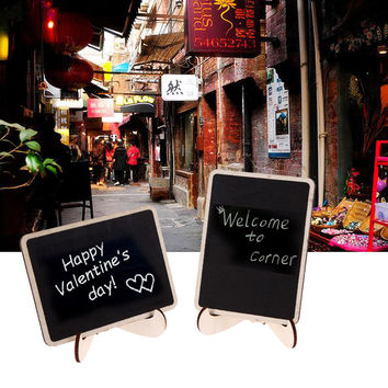 12Pcs/lot Vintage Mini Wood Chalkboard Blackboard Wooden Place Card Holder Table Number for Wedding Event Party Valentine Day