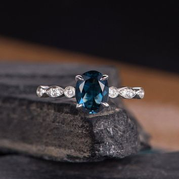 Oval Cut London Blue Topaz Engagement Ring Diamond Band Solitaire Milgrain Bridal Wedding Ring