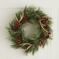Faux Antler Pine Wreath -24""