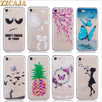 ZZCAJA For Apple iPhone 8 7 Case Soft Silicon Flowers Dancer Lovely Girl Butterfly Clear Phone Covers Shell for iPhone 7 8 Plus